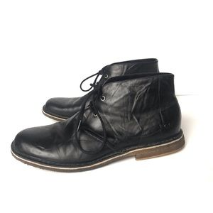 Ugg Leighton Black Leather Chukka Boots Men 11
